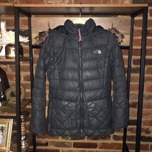 North Face Women's 550 Gray Hooded Down Jacket - Sz S